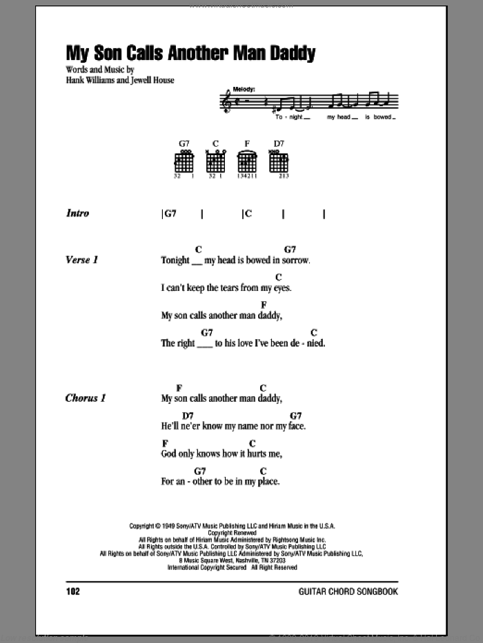 My Son Calls Another Man Daddy sheet music for guitar (chords) by Hank Williams and Jewell House, intermediate