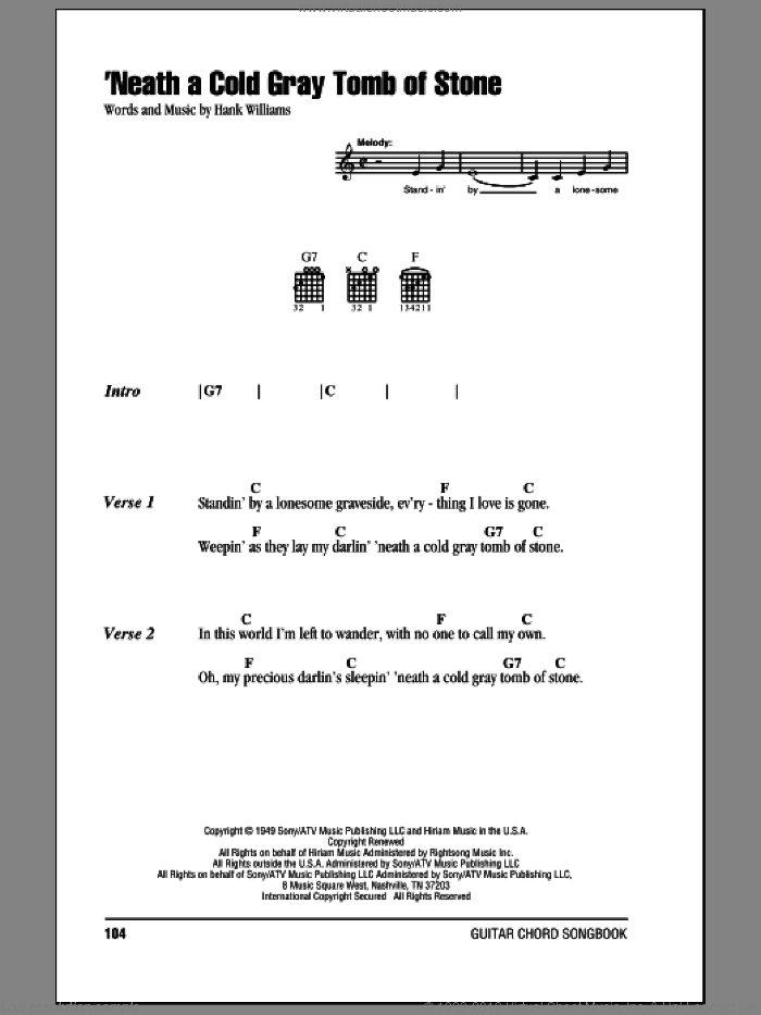 'Neath A Cold Gray Tomb Of Stone sheet music for guitar (chords) by Mel Foree and Hank Williams. Score Image Preview.