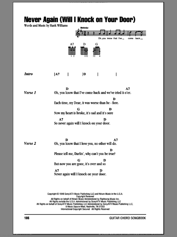 Never Again (Will I Knock On Your Door) sheet music for guitar (chords) by Hank Williams. Score Image Preview.