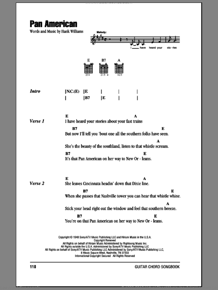 Pan American sheet music for guitar (chords) by Hank Williams, intermediate guitar (chords). Score Image Preview.
