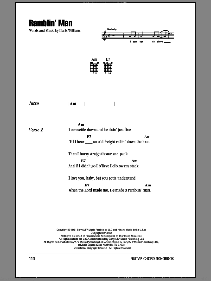 Ramblin' Man sheet music for guitar (chords) by Hank Williams, intermediate