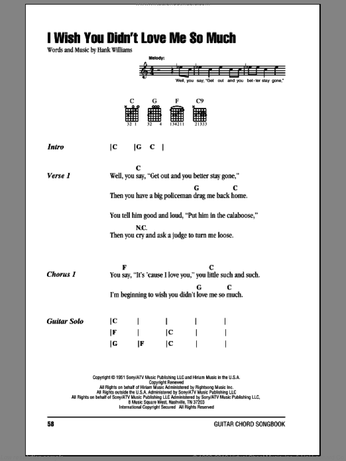 I Wish You Didn't Love Me So Much sheet music for guitar (chords) by Hank Williams, intermediate. Score Image Preview.