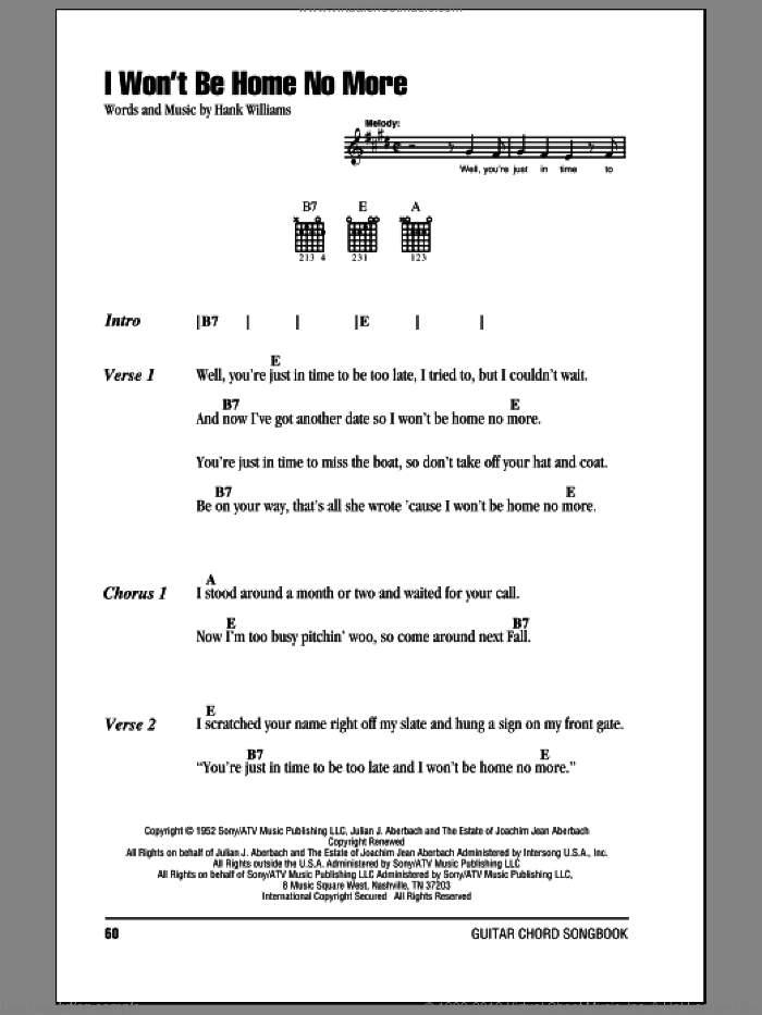 I Won't Be Home No More sheet music for guitar (chords) by Hank Williams. Score Image Preview.