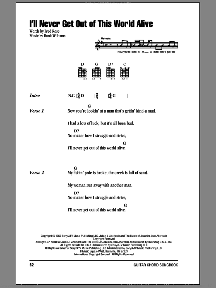 I'll Never Get Out Of This World Alive sheet music for guitar (chords) by Hank Williams and Fred Rose, intermediate