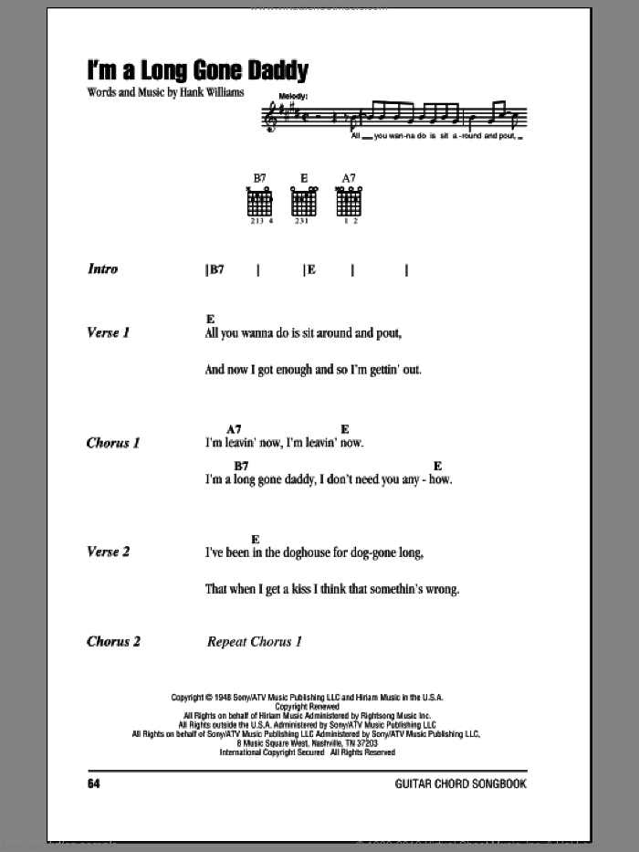 I'm A Long Gone Daddy sheet music for guitar (chords) by Hank Williams, intermediate guitar (chords). Score Image Preview.