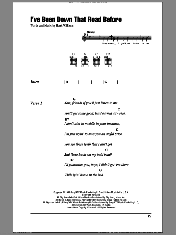 I've Been Down That Road Before sheet music for guitar (chords) by Hank Williams