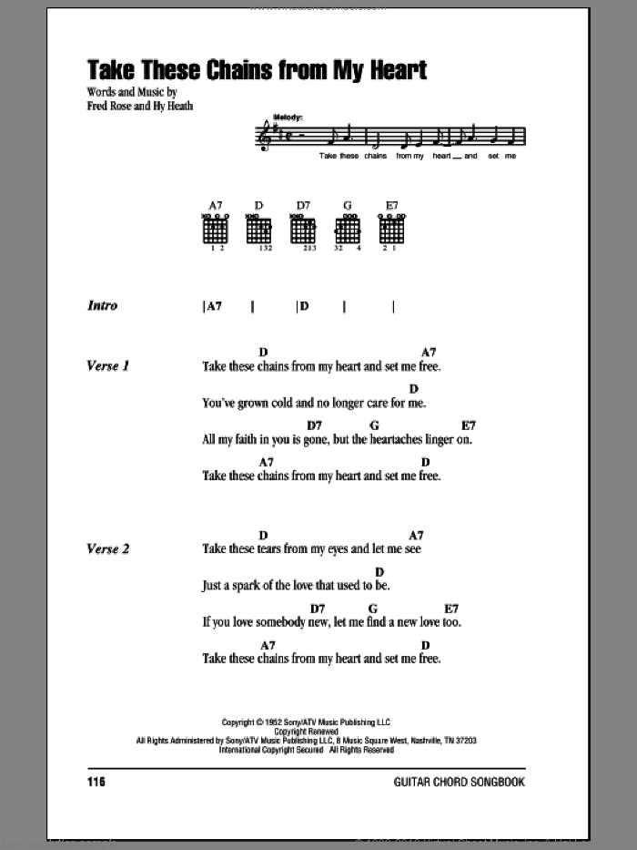 Take These Chains From My Heart sheet music for guitar (chords) by Hank Williams, Fred Rose and Hy Heath, intermediate. Score Image Preview.