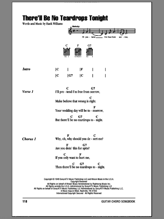 There'll Be No Teardrops Tonight sheet music for guitar (chords) by Hank Williams and Willie Nelson. Score Image Preview.