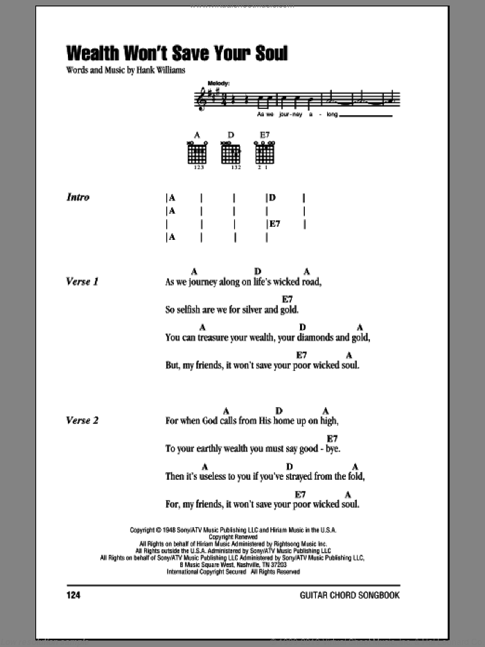 Wealth Won't Save Your Soul sheet music for guitar (chords) by Hank Williams. Score Image Preview.