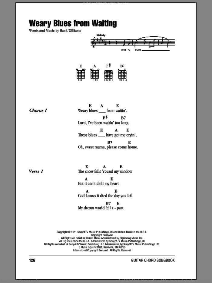 Weary Blues From Waiting sheet music for guitar (chords) by Hank Williams. Score Image Preview.