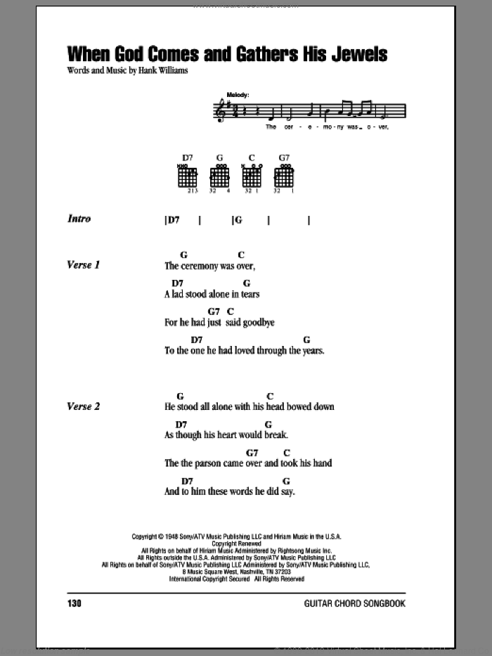 When God Comes And Gathers His Jewels sheet music for guitar (chords) by Hank Williams, intermediate skill level