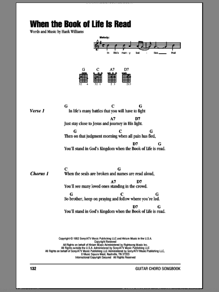When The Book Of Life Is Read sheet music for guitar (chords) by Hank Williams. Score Image Preview.