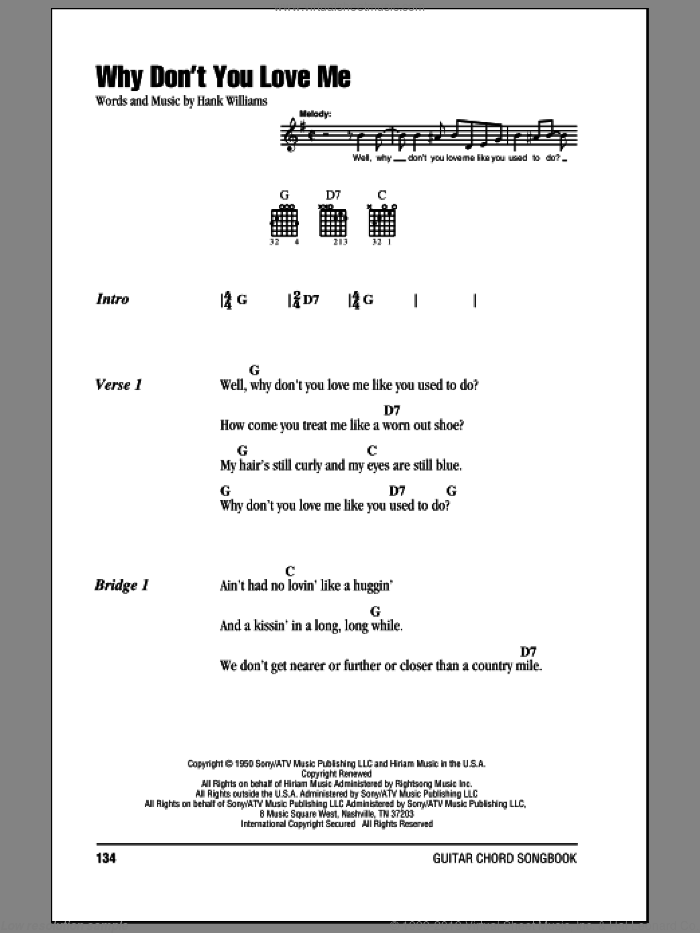Why Don't You Love Me sheet music for guitar (chords) by Hank Williams. Score Image Preview.