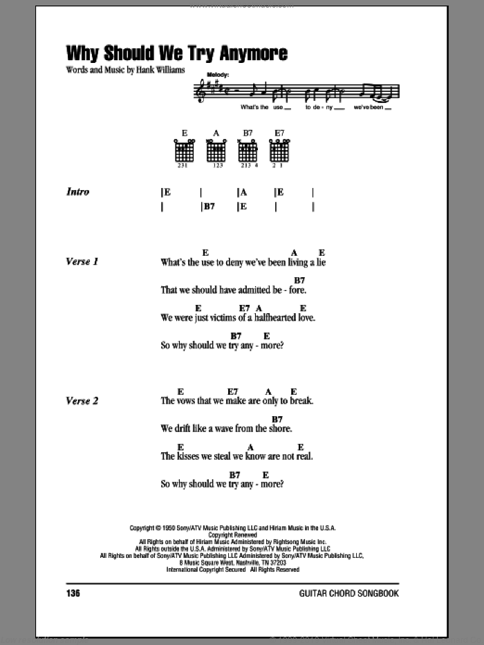 Williams Why Should We Try Anymore Sheet Music For Guitar Chords
