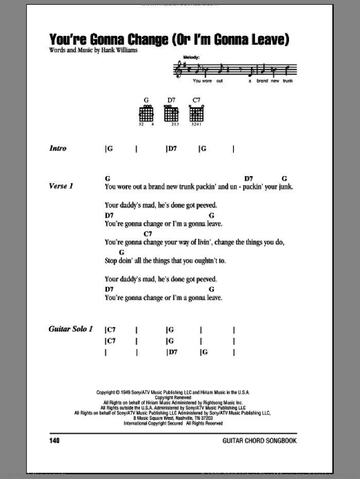 You're Gonna Change (Or I'm Gonna Leave) sheet music for guitar (chords) by Hank Williams, intermediate guitar (chords). Score Image Preview.