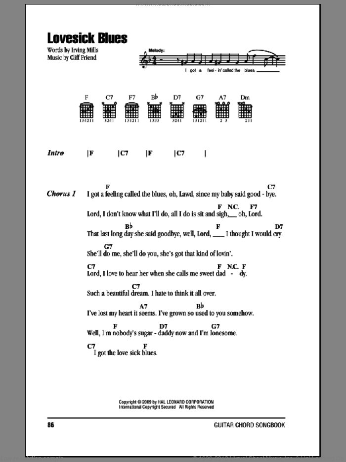 Lovesick Blues sheet music for guitar (chords) by Hank Williams, Cliff Friend and Irving Mills. Score Image Preview.