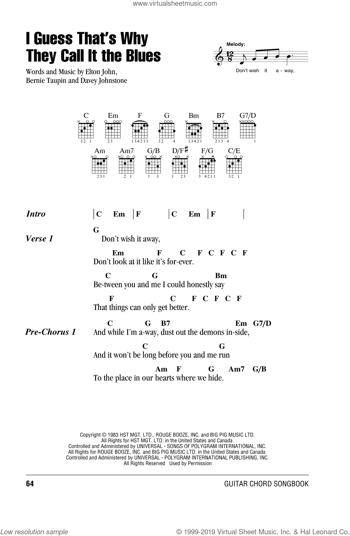 I Guess That's Why They Call It The Blues sheet music for guitar (chords) by Davey Johnstone