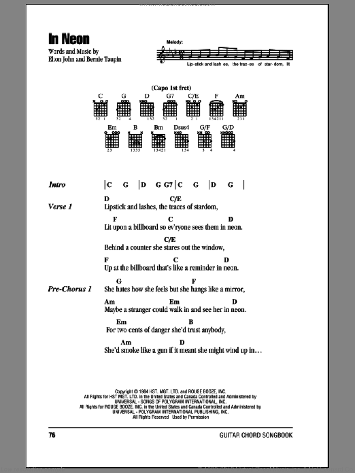 In Neon sheet music for guitar (chords) by Bernie Taupin and Elton John. Score Image Preview.