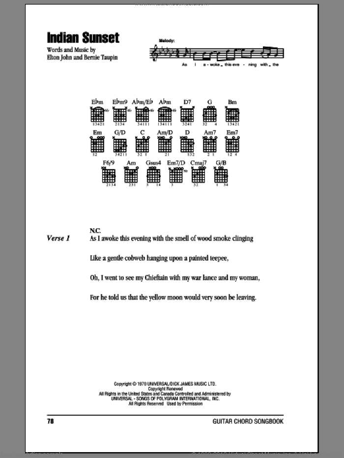 Indian Sunset sheet music for guitar (chords) by Bernie Taupin