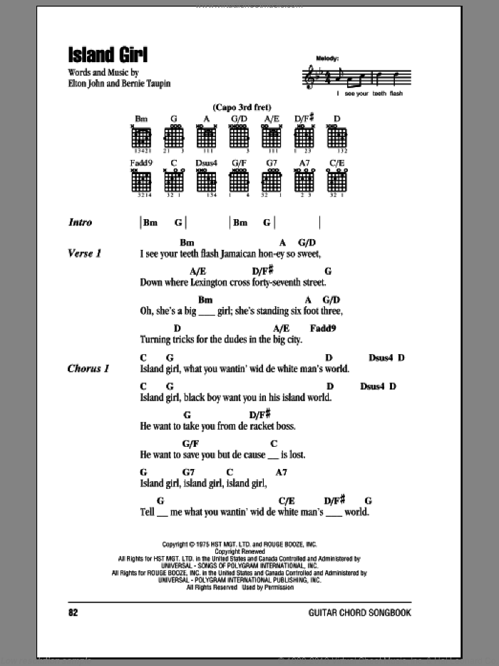 Island Girl sheet music for guitar (chords) by Bernie Taupin and Elton John. Score Image Preview.