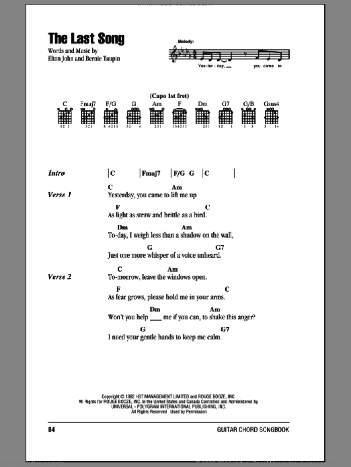 The Last Song sheet music for guitar (chords) by Elton John and Bernie Taupin, intermediate guitar (chords). Score Image Preview.