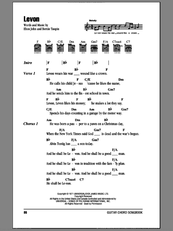 Levon sheet music for guitar (chords) by Bernie Taupin and Elton John. Score Image Preview.