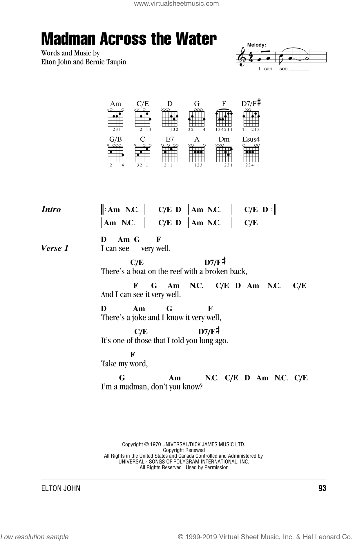 Madman Across The Water sheet music for guitar (chords) by Elton John and Bernie Taupin, intermediate