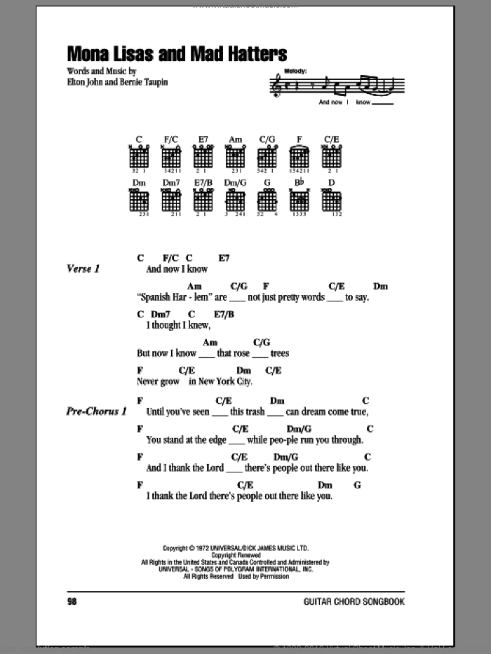 Mona Lisas And Mad Hatters sheet music for guitar (chords) by Bernie Taupin