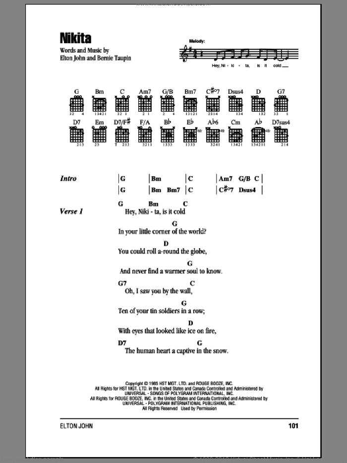 Nikita sheet music for guitar (chords) by Bernie Taupin and Elton John. Score Image Preview.