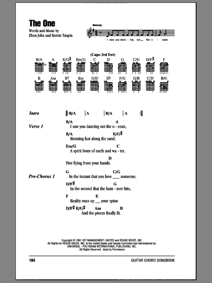 The One sheet music for guitar (chords) by Elton John and Bernie Taupin, intermediate. Score Image Preview.