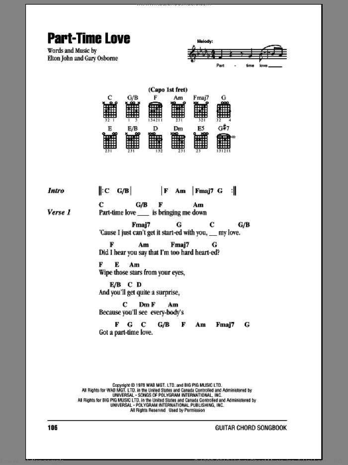 John - Part-Time Love sheet music for guitar (chords) [PDF]