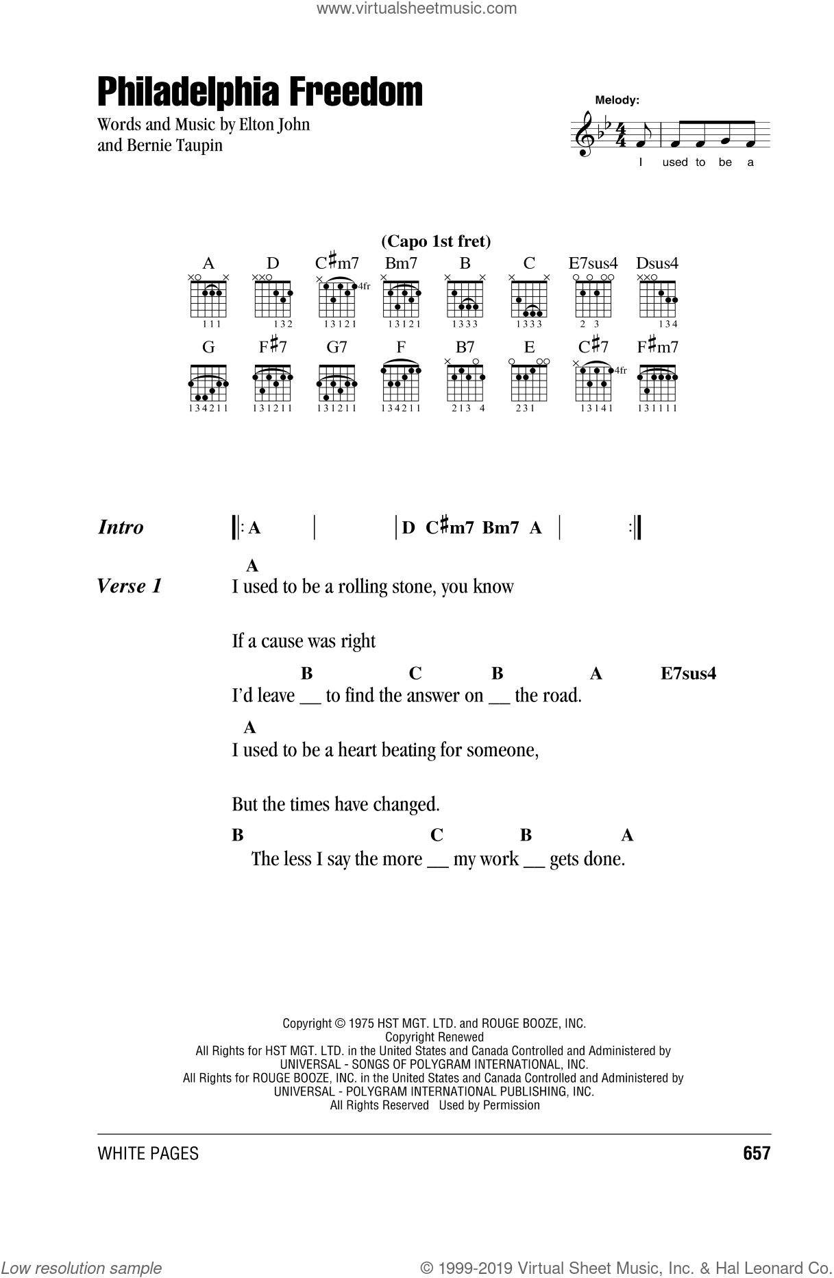 Philadelphia Freedom sheet music for guitar (chords) by Bernie Taupin