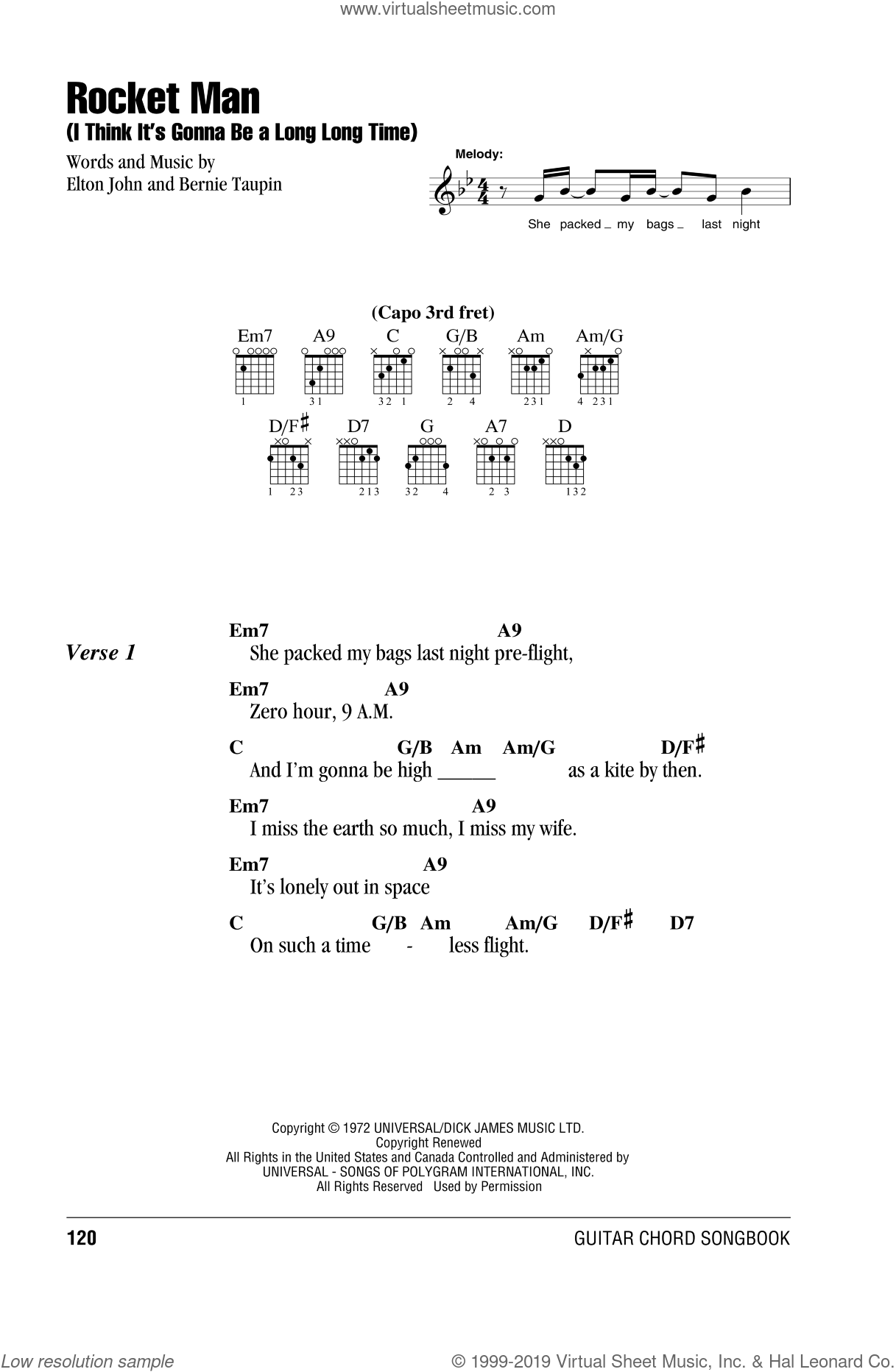 Rocket Man (I Think It's Gonna Be A Long Long Time) sheet music for guitar (chords) by Bernie Taupin