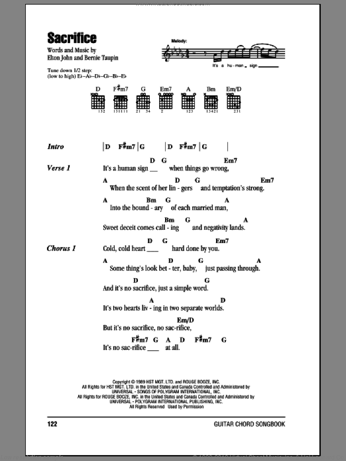 Sacrifice sheet music for guitar (chords) by Bernie Taupin and Elton John. Score Image Preview.