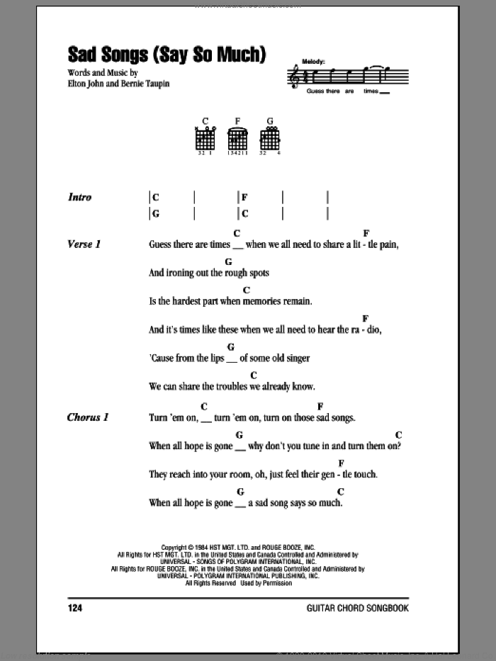 Sad Songs (Say So Much) sheet music for guitar (chords) by Elton John and Bernie Taupin, intermediate