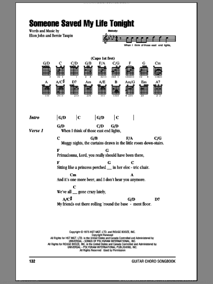 John - Someone Saved My Life Tonight sheet music for guitar (chords)