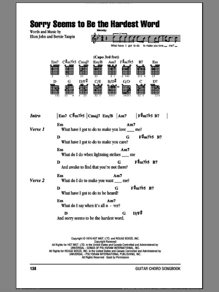 John - Sorry Seems To Be The Hardest Word sheet music for guitar ...