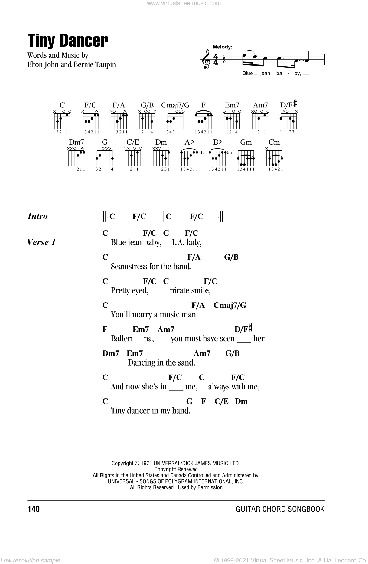 Tiny Dancer sheet music for guitar (chords) by Elton John and Bernie Taupin, intermediate skill level