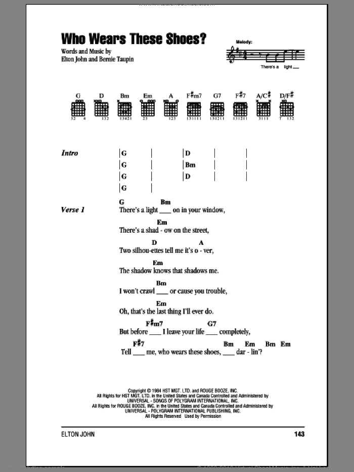 Who Wears These Shoes? sheet music for guitar (chords, lyrics, melody) by Bernie Taupin