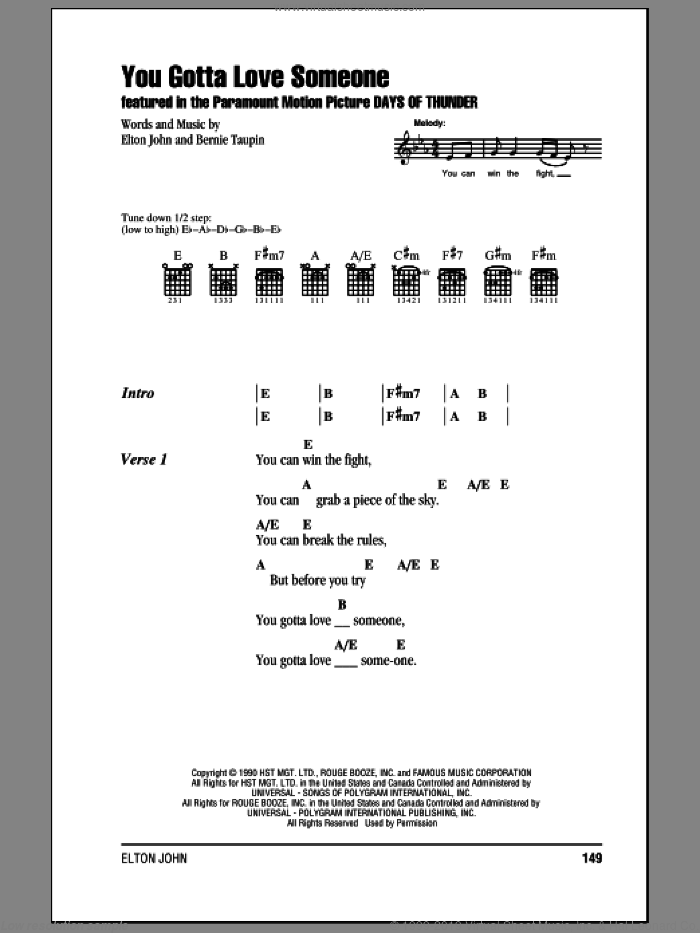 You Gotta Love Someone sheet music for guitar (chords) by Elton John and Bernie Taupin, intermediate. Score Image Preview.