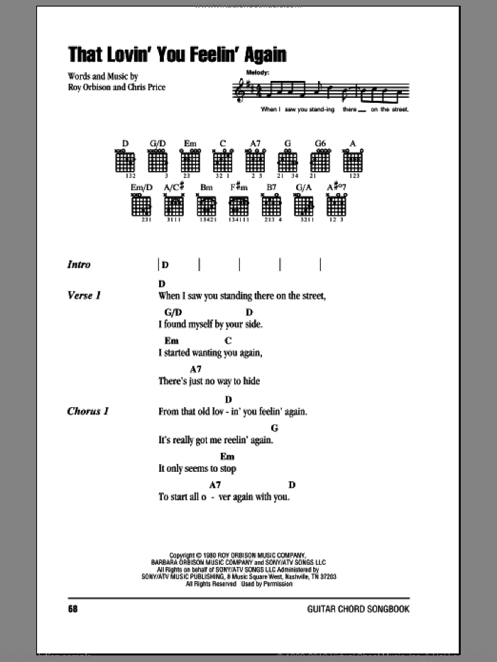 That Lovin' You Feelin' Again sheet music for guitar (chords) by Roy Orbison and Chris Price, intermediate. Score Image Preview.