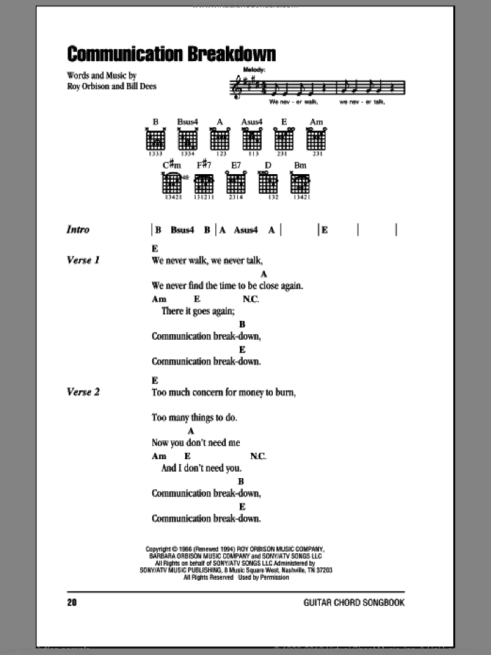 Communication Breakdown sheet music for guitar (chords) by Bill Dees and Roy Orbison. Score Image Preview.