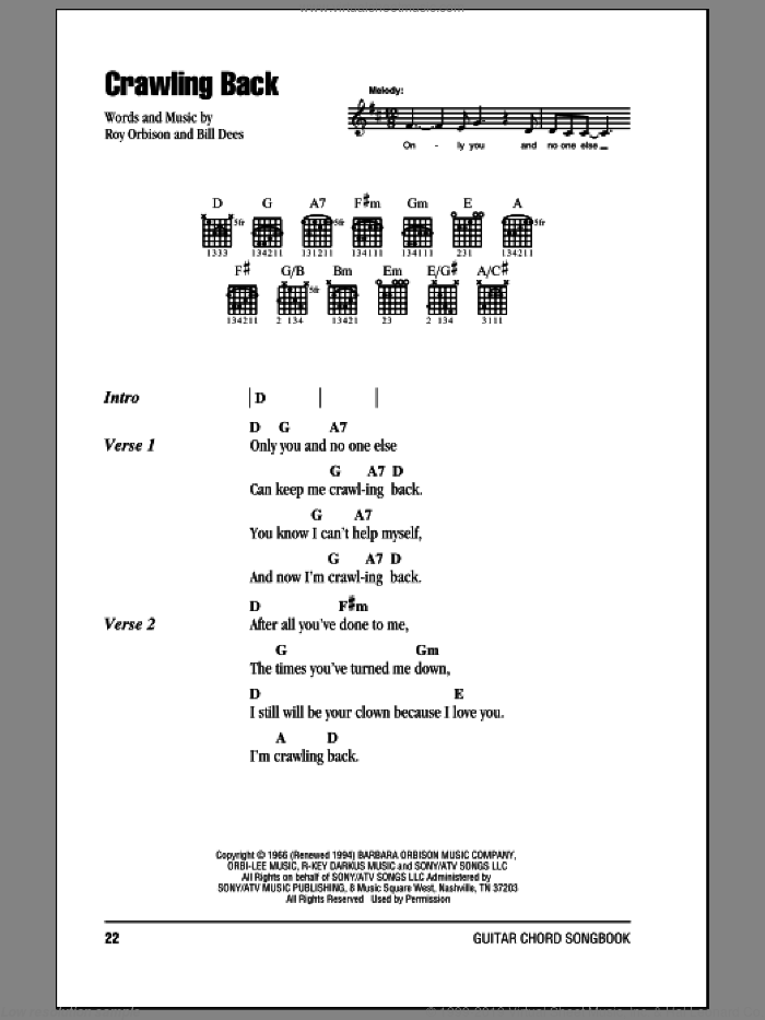 Crawling Back sheet music for guitar (chords) by Roy Orbison and Bill Dees, intermediate skill level