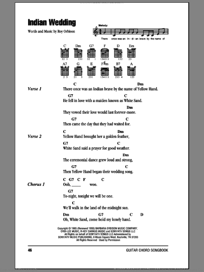 Indian Wedding sheet music for guitar (chords) by Roy Orbison, intermediate skill level