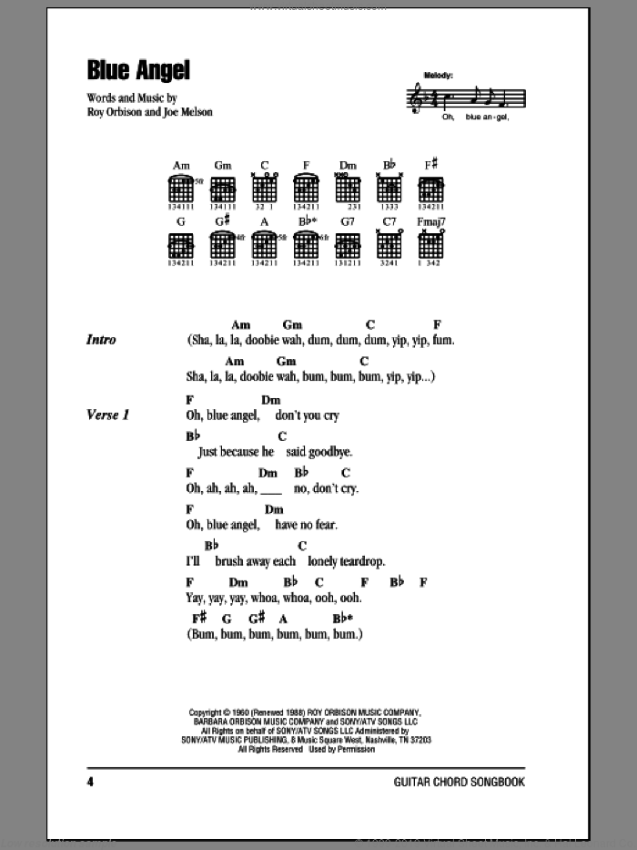 Blue Angel sheet music for guitar (chords, lyrics, melody) by Joe Melson