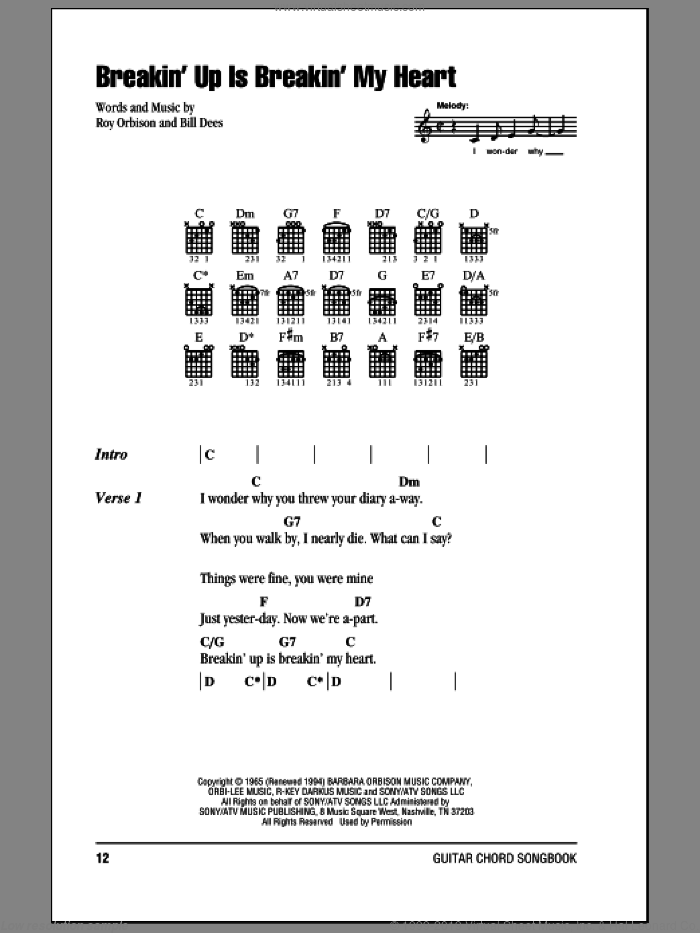 Breakin' Up Is Breakin' My Heart sheet music for guitar (chords) by Bill Dees and Roy Orbison. Score Image Preview.