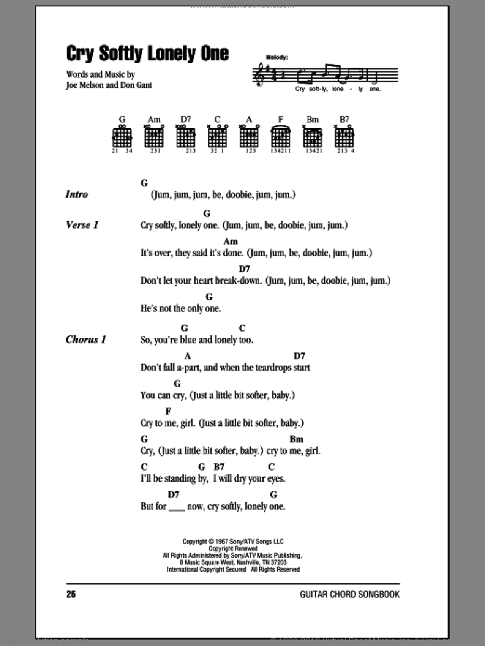 Cry Softly Lonely One sheet music for guitar (chords, lyrics, melody) by Joe Melson