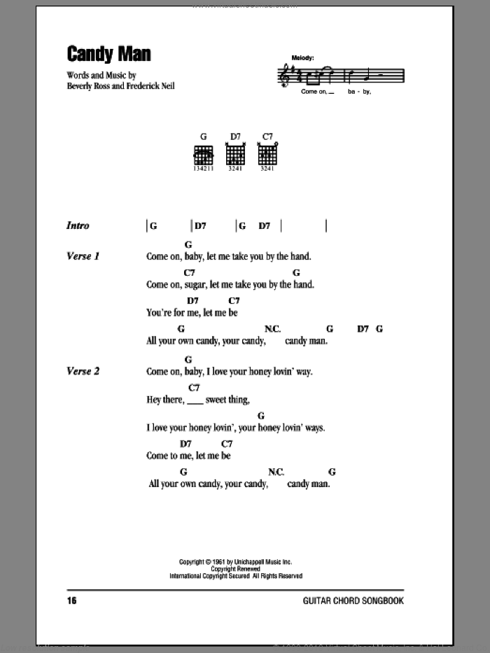 Orbison Candy Man Sheet Music For Guitar Chords