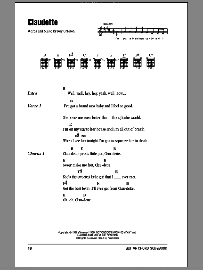 Claudette sheet music for guitar (chords) by Roy Orbison. Score Image Preview.