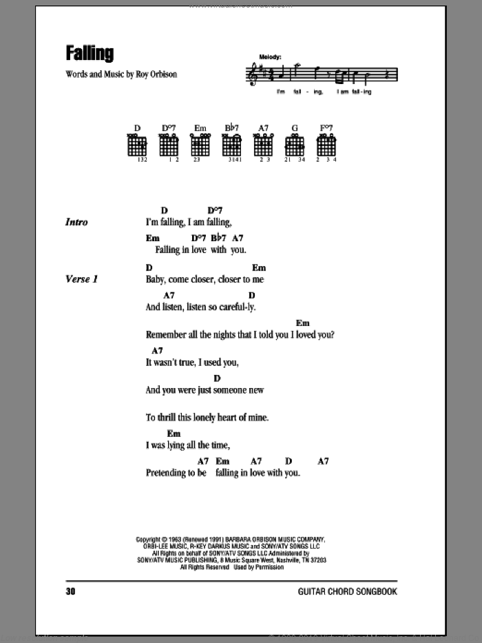Falling sheet music for guitar (chords) by Roy Orbison. Score Image Preview.
